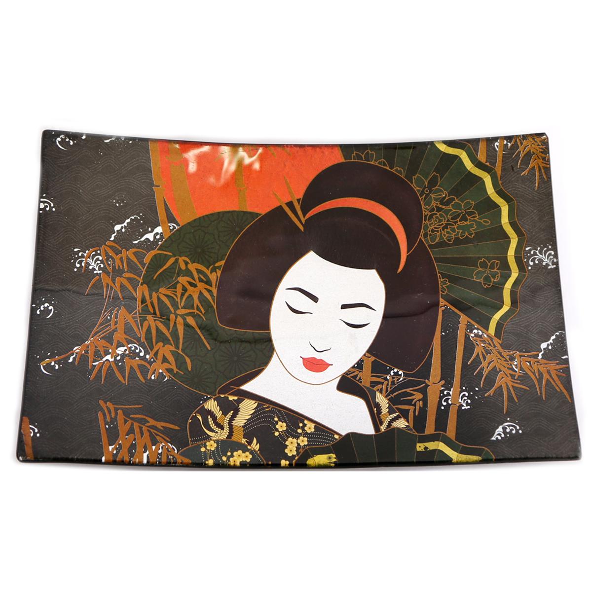 Coupelle vide poches verre \'Geisha\' noir - 23x15x3 cm - [A2906]
