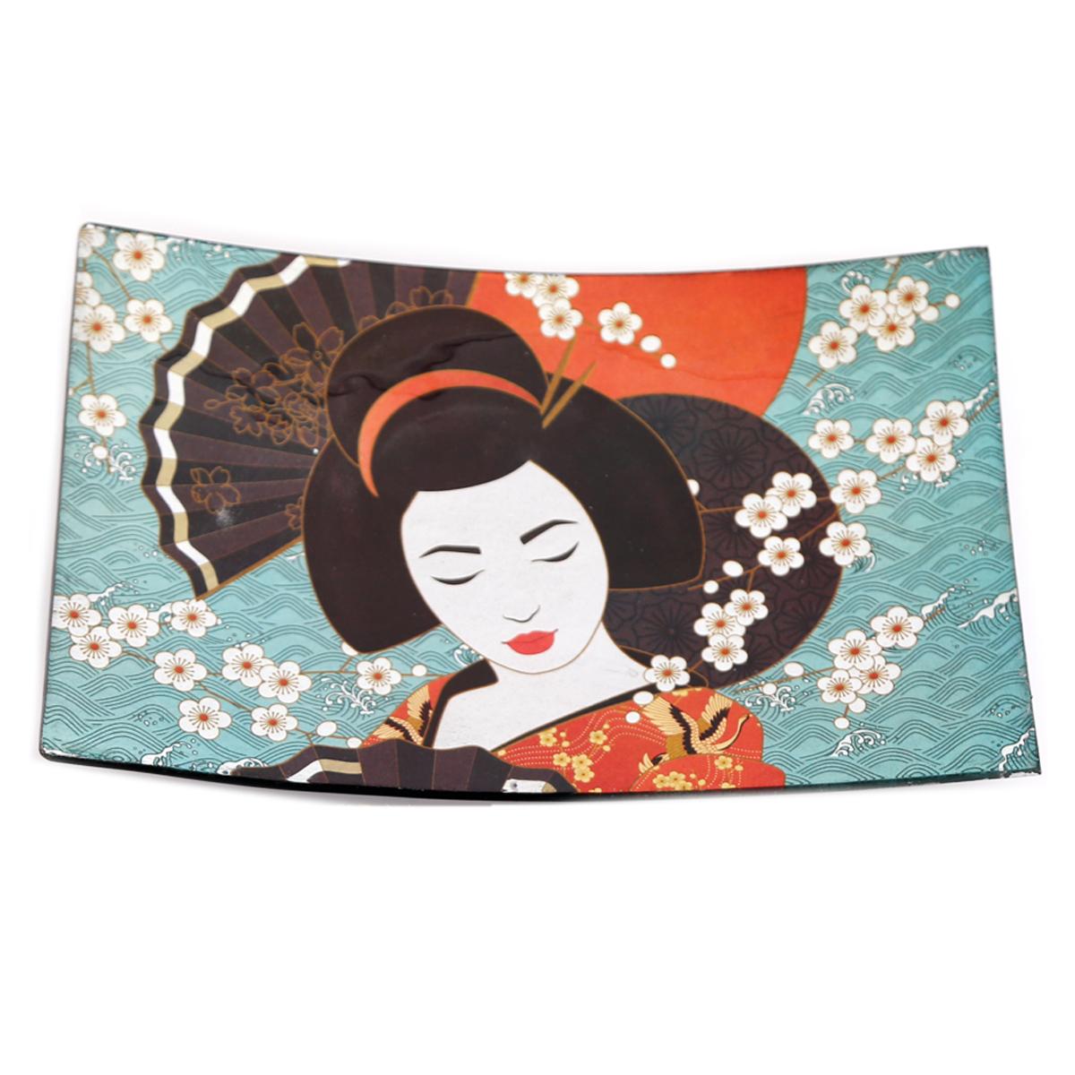 Coupelle vide poches verre \'Geisha\' turquoise - 23x15x3 cm - [A2907]
