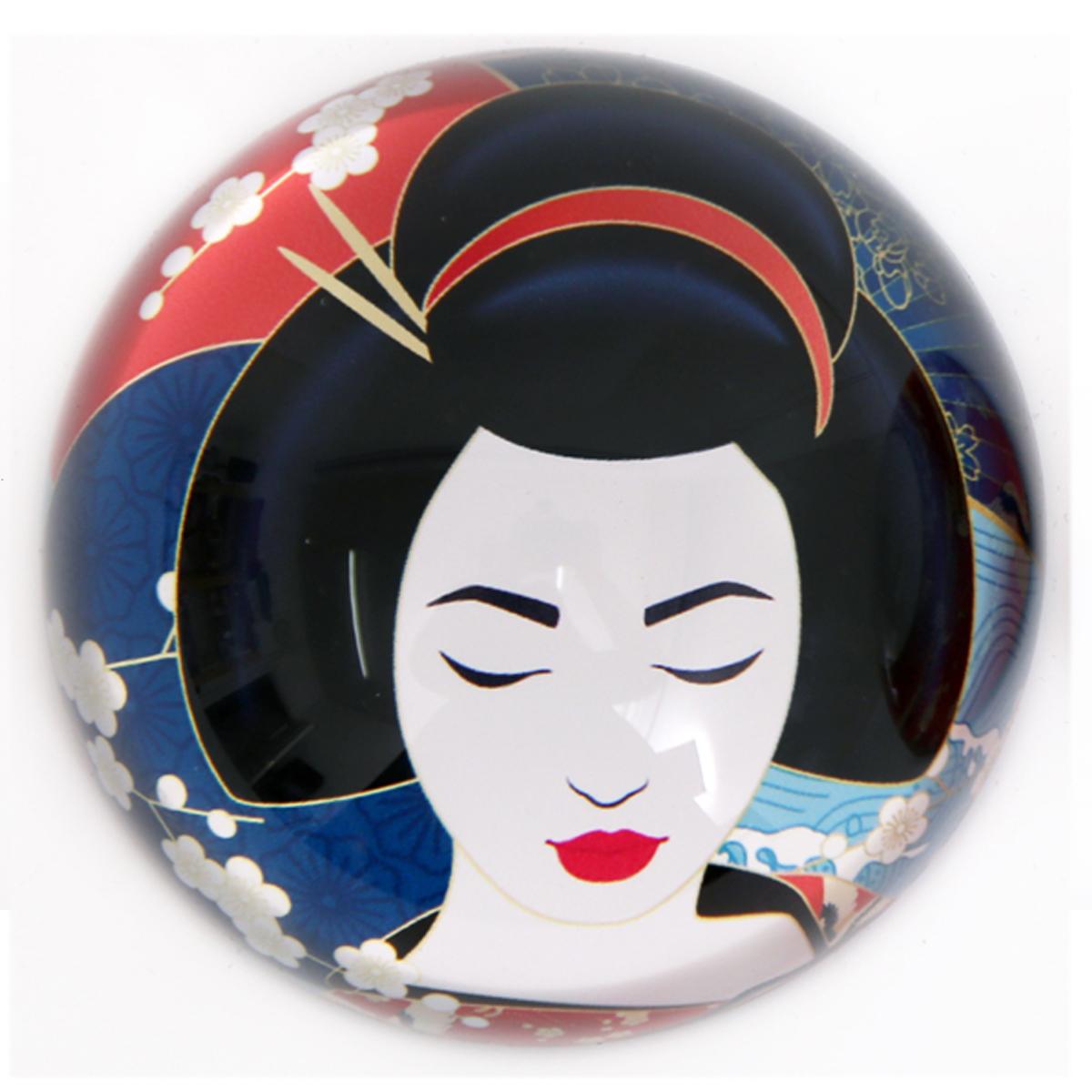 Presse papier verre \'Geisha\' bleu multicolore - 78x40 mm - [A2908]