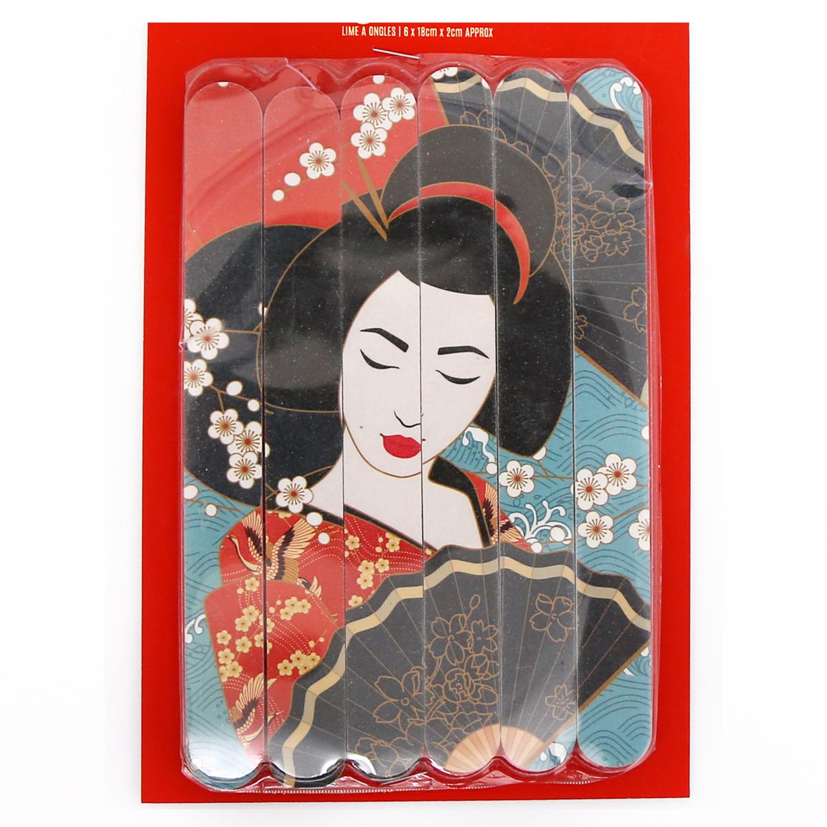 Set de 6 limes à ongles \'Geisha\' multicolore - 18x2 cm - [A2911]
