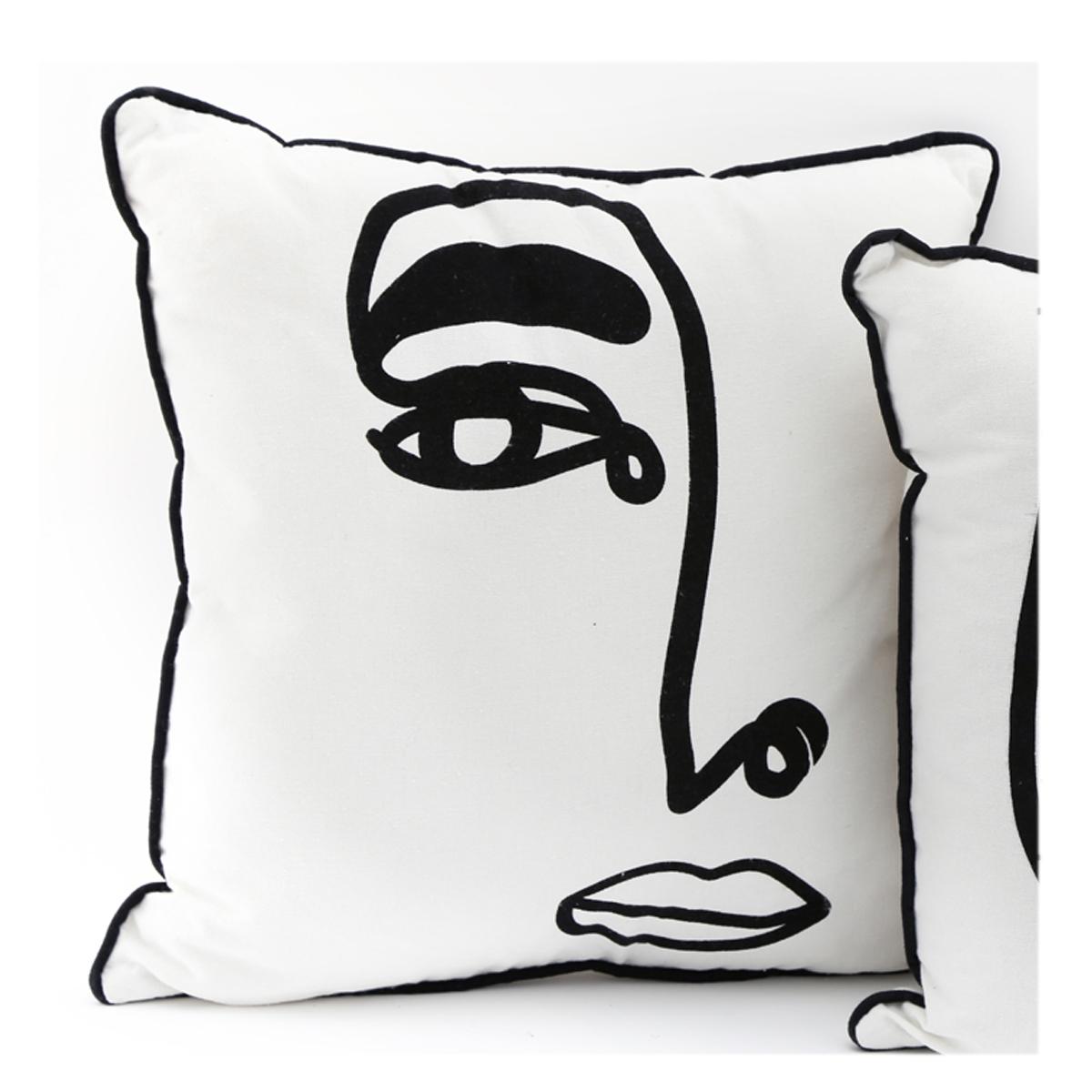 Coussin créateur \'Arty\' noir blanc - 40x40 cm (visage) - [A2918]