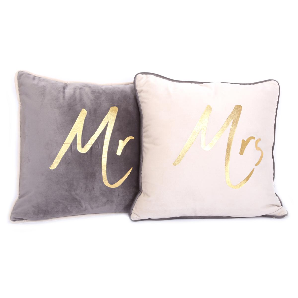 2 coussins velours \'Mr & Mrs\' gris beige - 40x40 cm - [A2919]