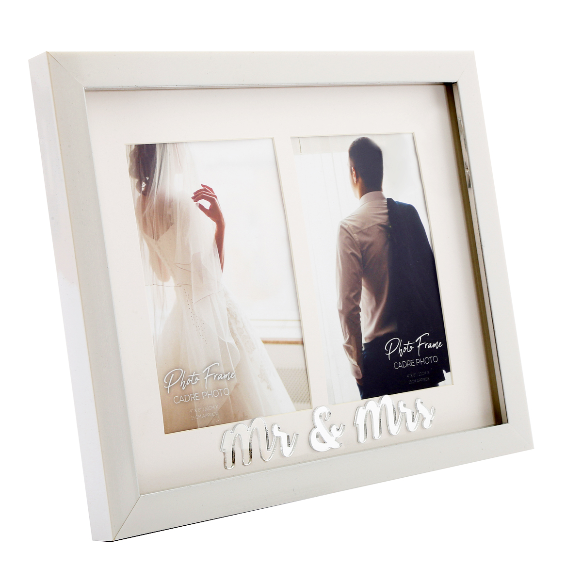 Cadre photo duo bois \'Mr & Mrs\' blanc (2 photos ) - 28x22 cm (2 photos 10x15 cm) - [A2921]