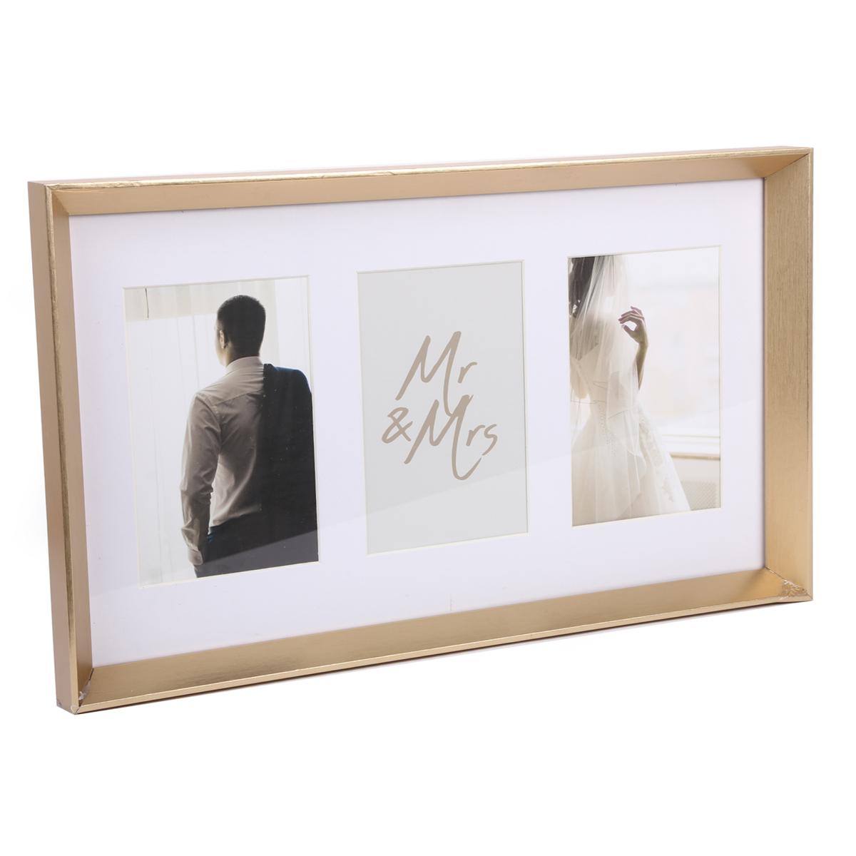 Cadre photo pêle-mêle bois \'Mr & Mrs\' doré - 3 photos 10x15 cm - [A2923]