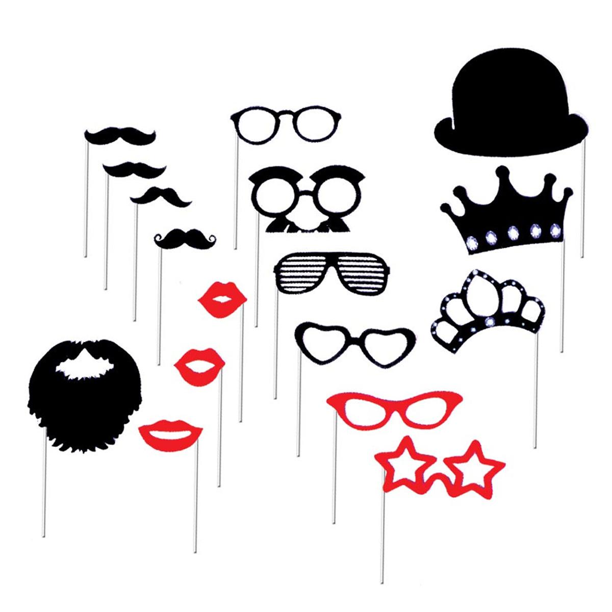 Accessoires photobooth \'Lunettes moustaches\'  rouge noir - 17 pièces) - [L4808]
