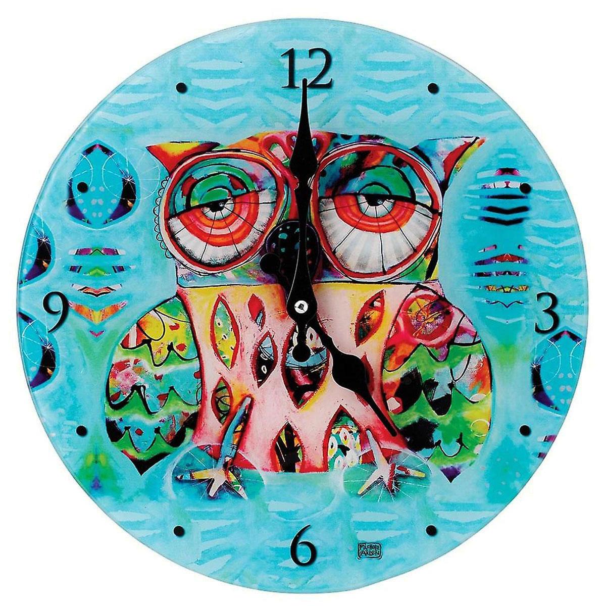 Horloge Murale verre \'Allen Designs\' chouette (30 cm) - [M1335]