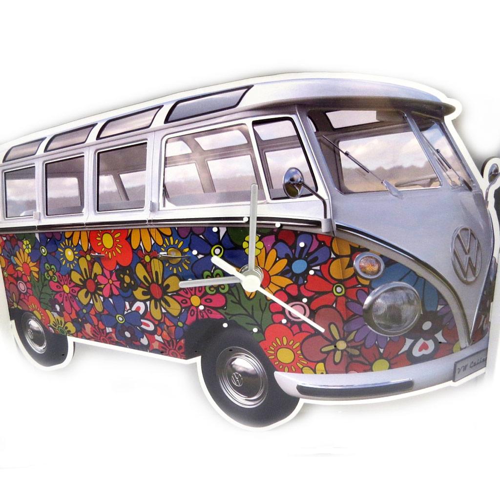 Horloge Murale bois \'Volkswagen\' tutti frutti (Peace and Love) - 28x18 cm - [M3387]