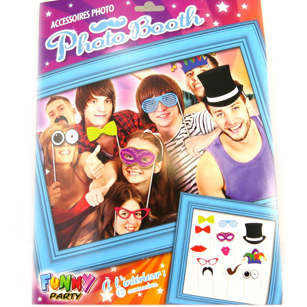 Accessoires photobooth \'Funny Party\' - 12 pièces - [M5040]