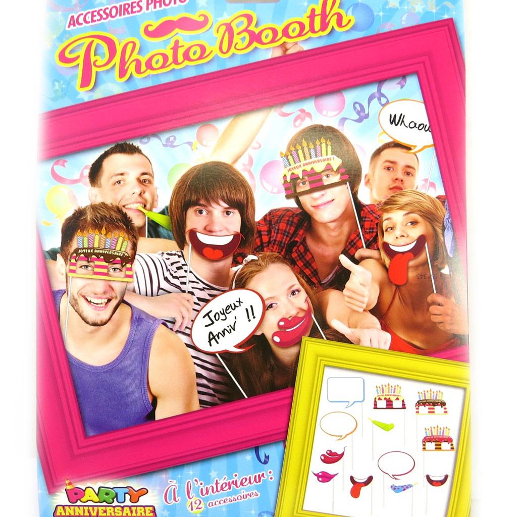 Accessoires photobooth \'Anniversaire\' - 12 pièces - [M5041]