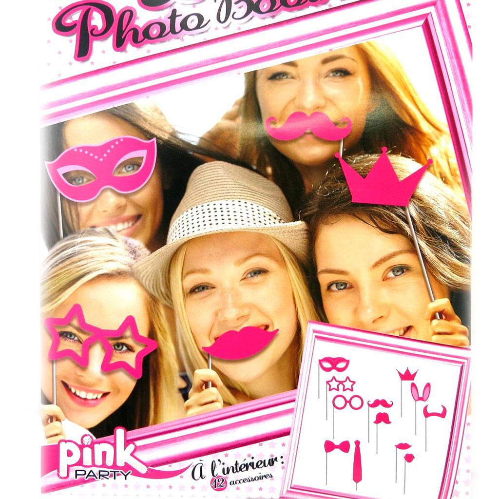 Accessoires photobooth \'Pink Party\' rose - 12 pièces - [M5197]