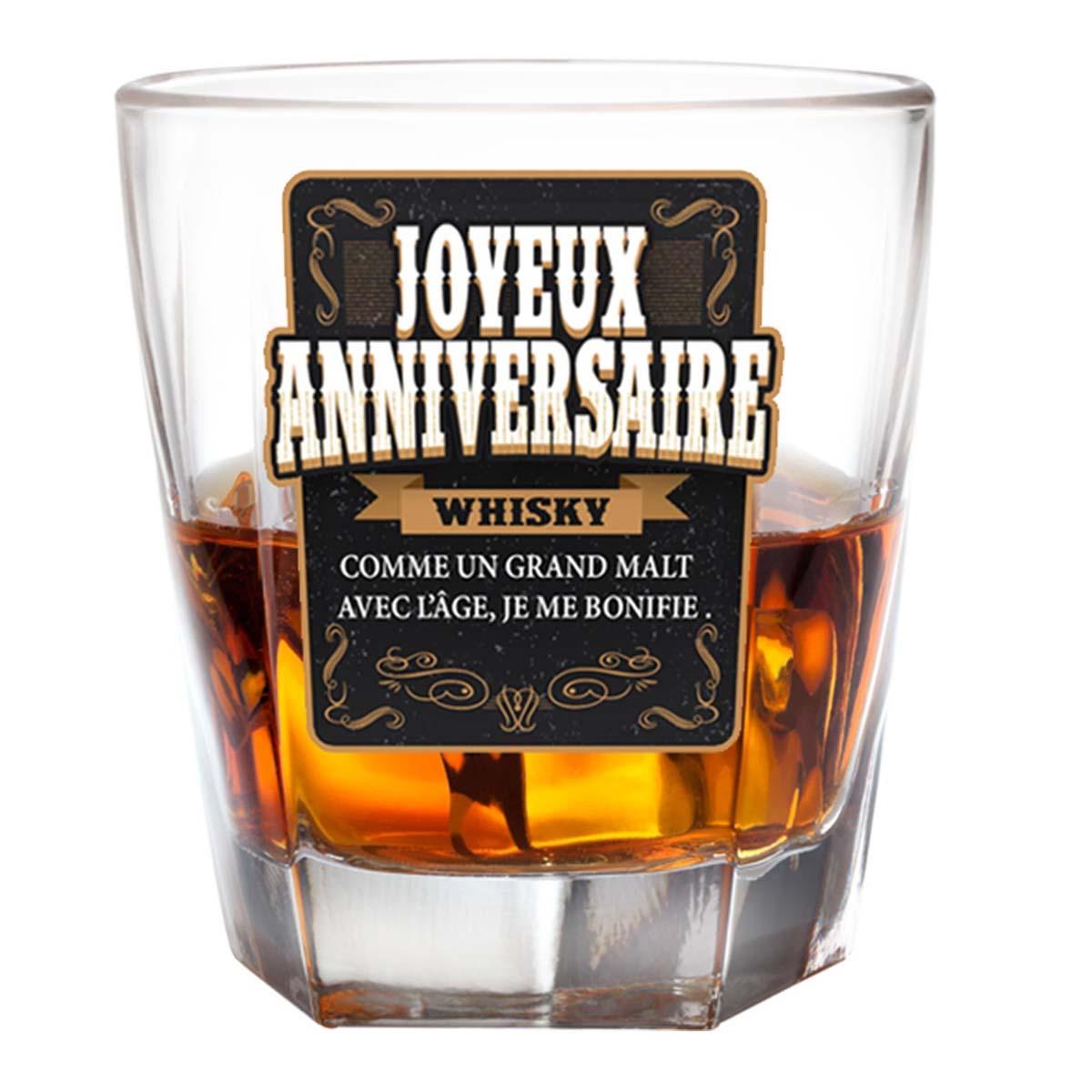 Verre à whisky \'Joyeux Anniversaire\' - 85x55 mm - [P2699]