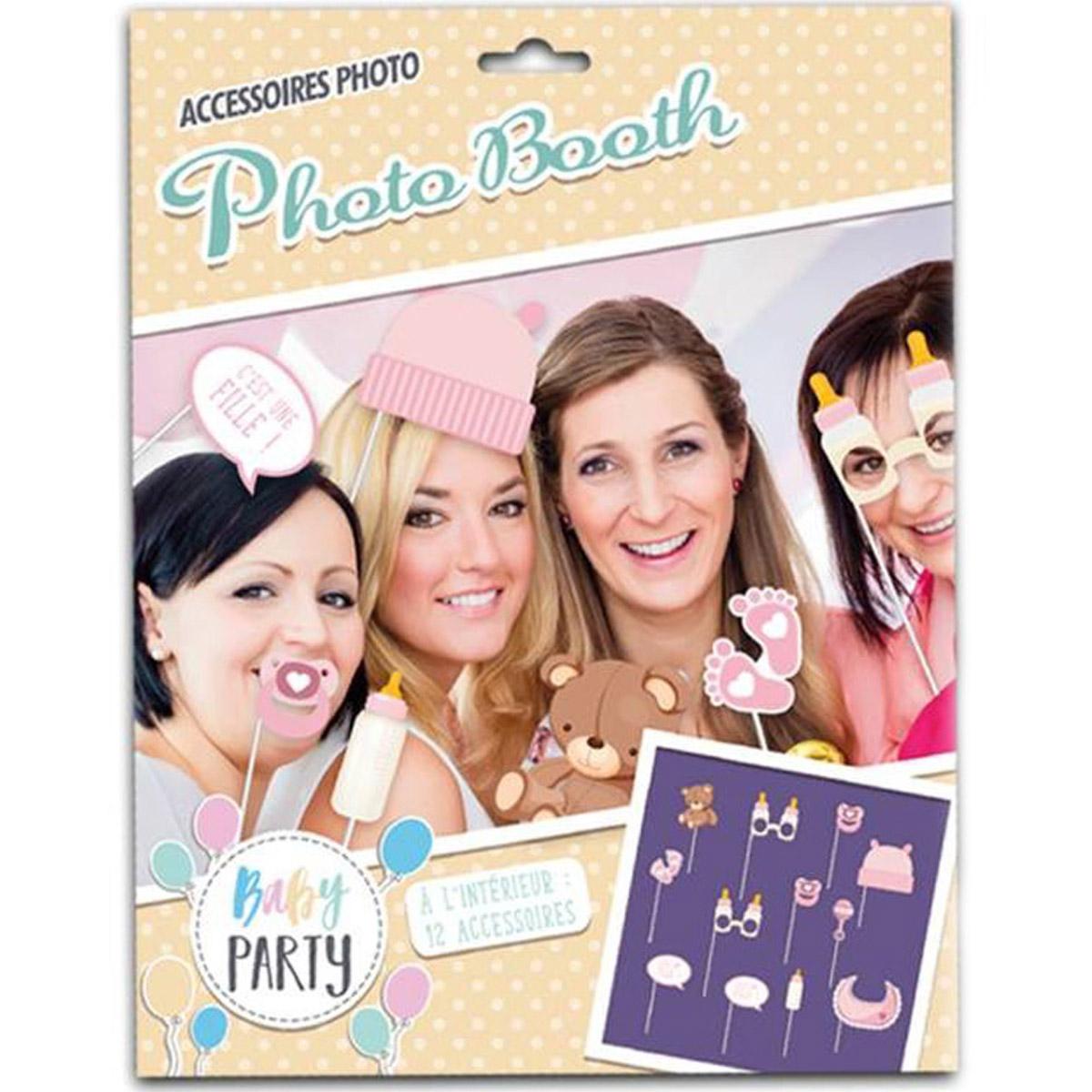 Accessoires photobooth \'Baby Shower\' rose - 12 pièces - [Q3490]