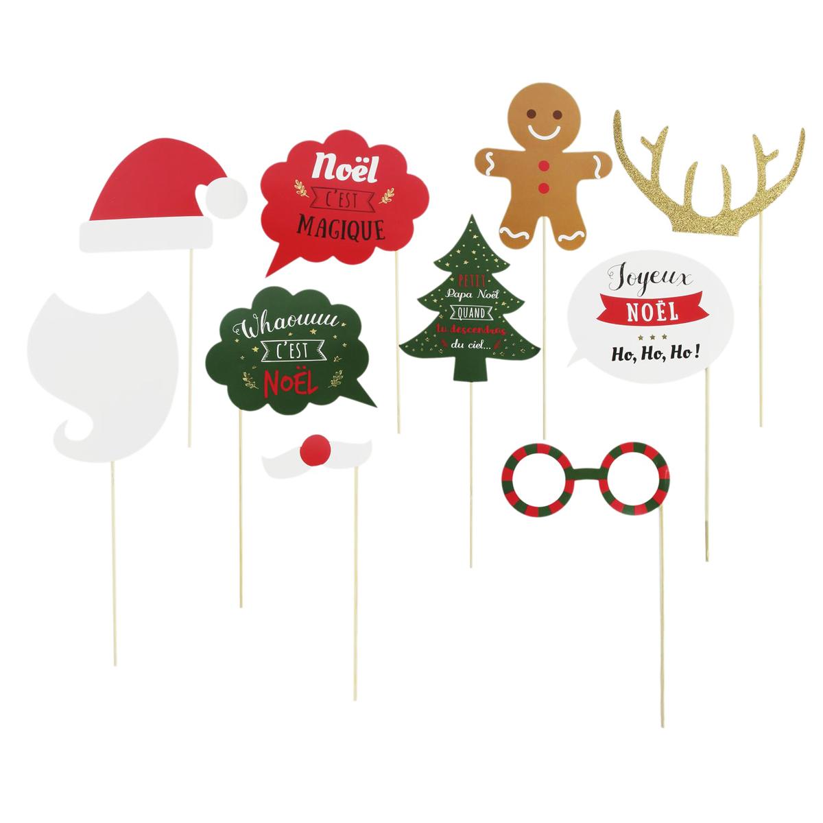 Accessoires photobooth \'Joyeux Noël\' - 10 pièces - [Q3618]