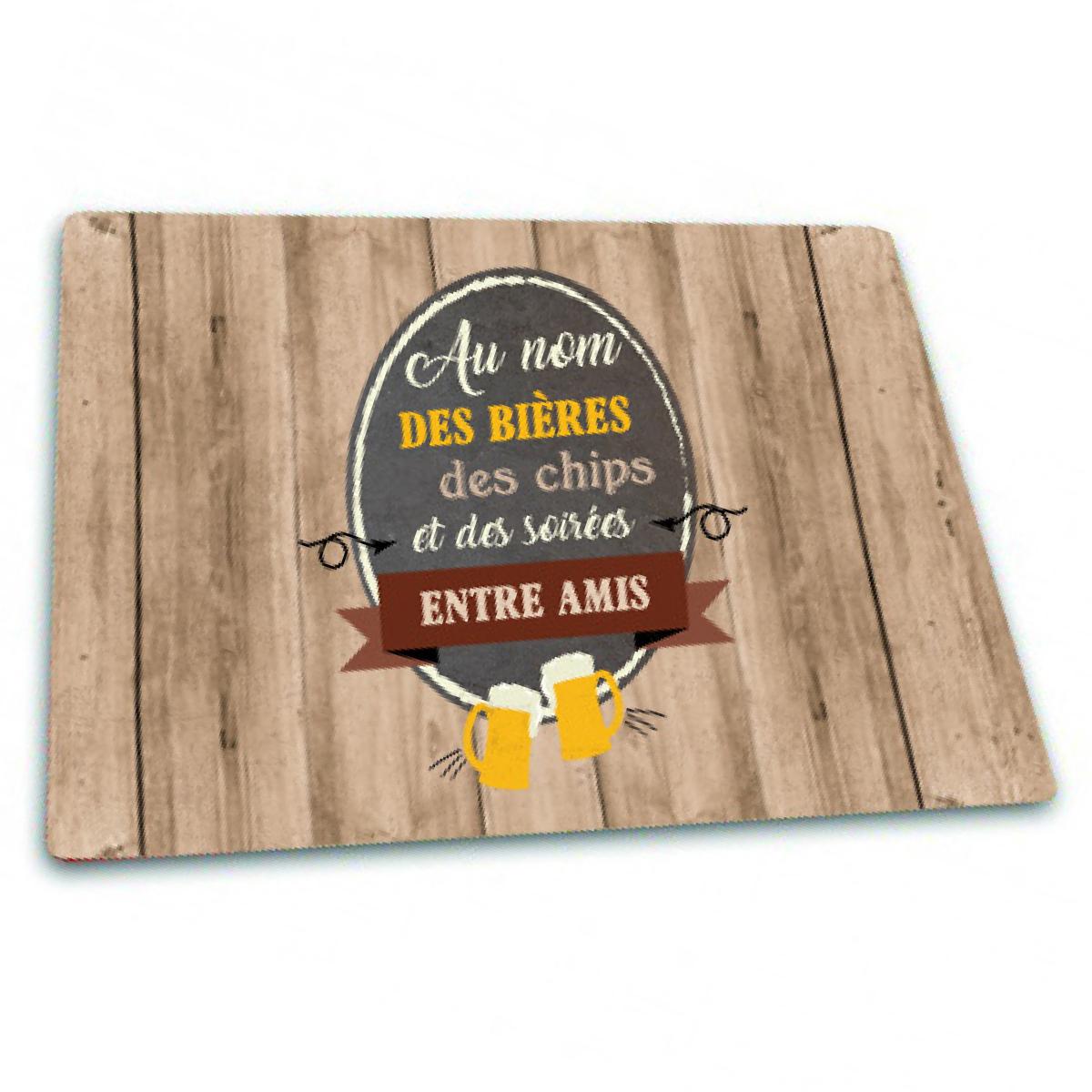 Planche à découpe / dessous de plat  \'Messages\' (Au nom des bières des chips et des soirées entre Amis) - 30x20 cm - [Q3790]