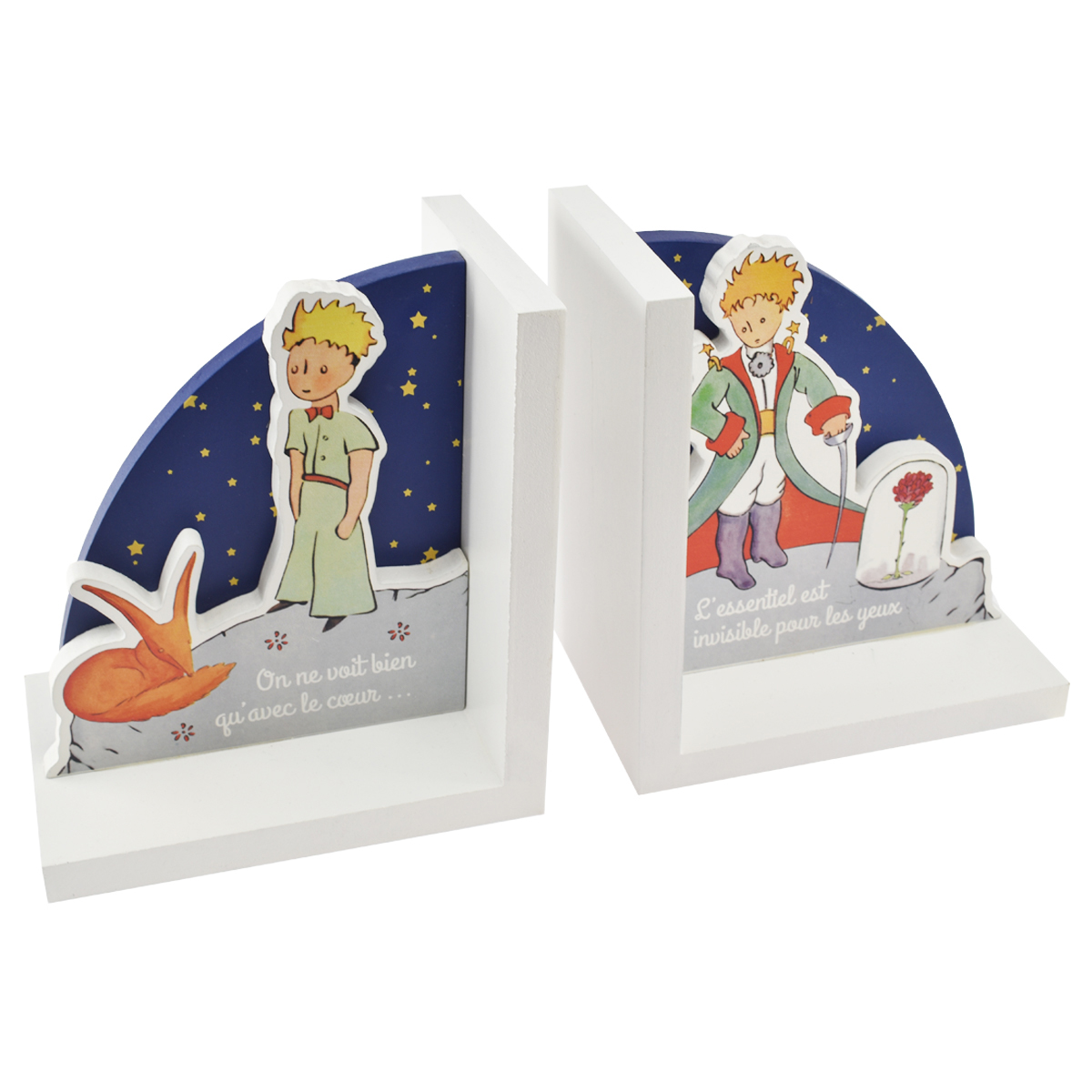 Serre-livres bois \'Le Petit Prince\' bleu blanc - chacun 15x135x9 cm - [Q8322]