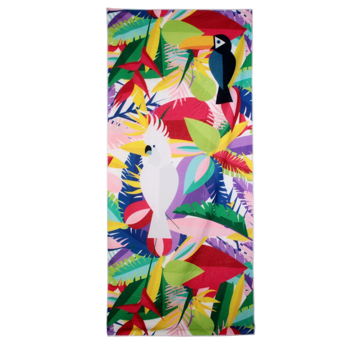 Serviette de plage créateur \'Tropical\' multicolore - 150x70 cm - [Q9030]