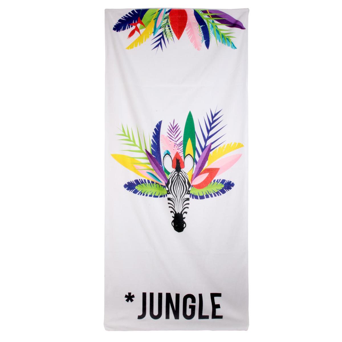 Serviette de plage créateur \'Tropical\' blanc multicolore (zèbre - jungle) - 150x70 cm - [Q9032]