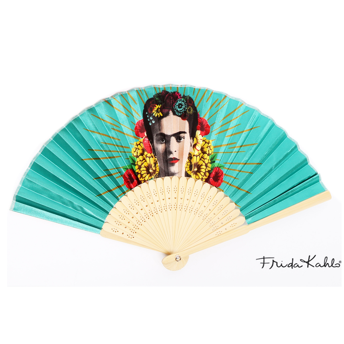 Eventail créateur \'Frida Kahlo\' turquoise - ouvert 37x21 cm - [Q9966]