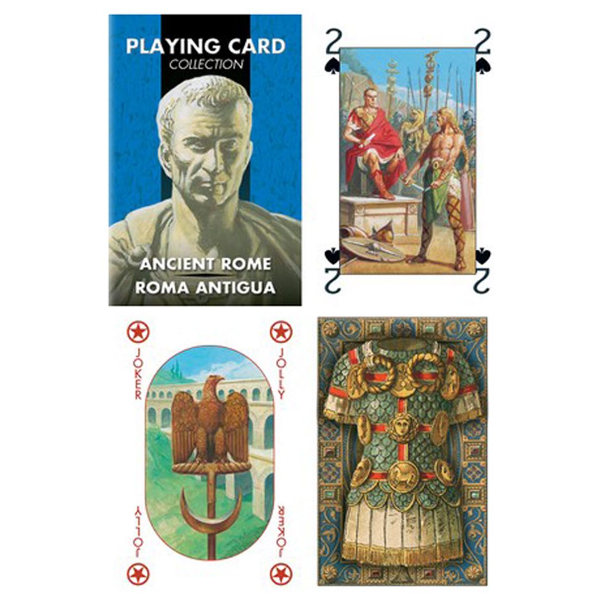 Jeu de cartes Créateur \'Ancient Rome\' bleu - 9x6x2 cm - [R1794]