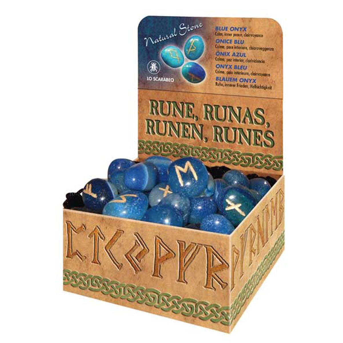 Coffret \'Runes\' onyx bleu (calme, paix intérieure, clairvoyance) - [R2801]