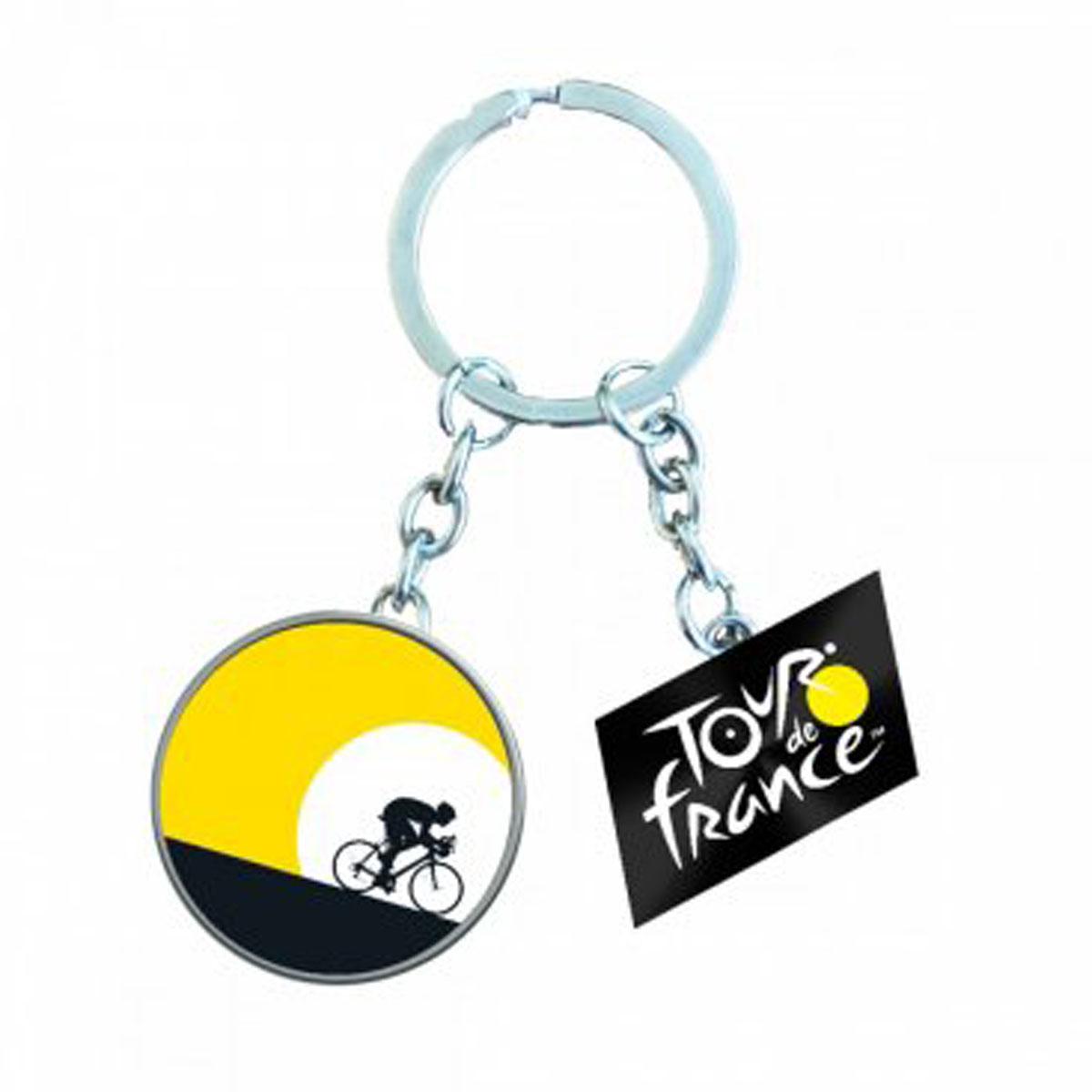 Porte-Clés \'Tour de France\' jaune noir - 10x4 cm (motif 4-3 cm) - [R5070]