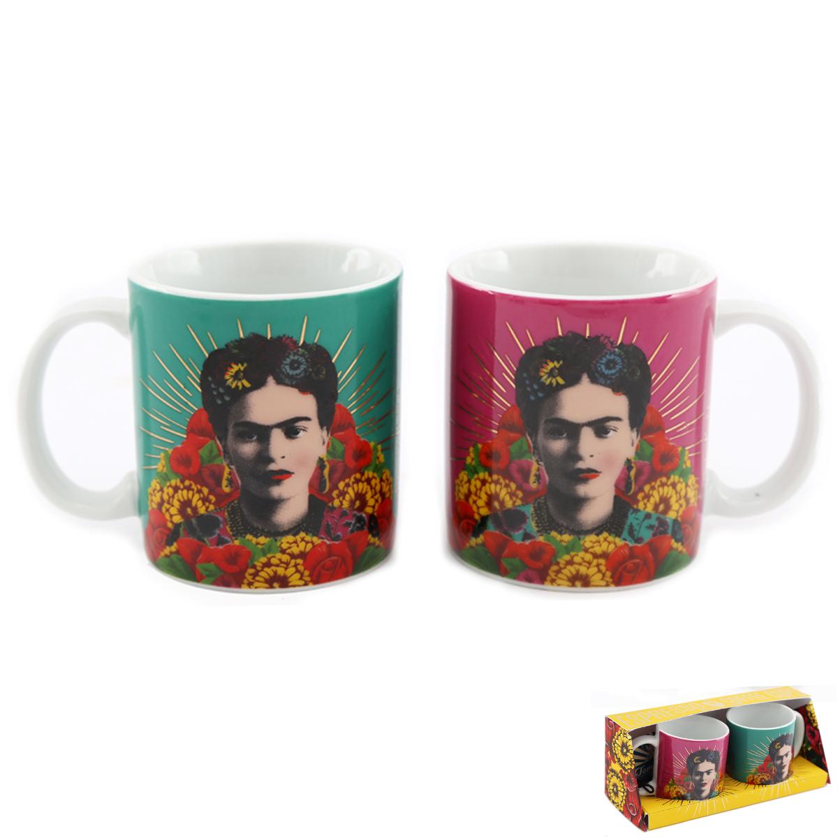 2 tasses espresso porcelaine \'Frida Kahlo\' vert rose - 60x60 mm (duo café) - [A2903]