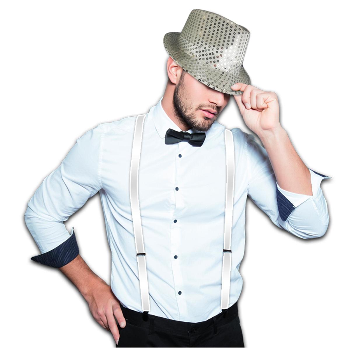 Chapeau borsalino \'Disco\' argenté - taille unique - [A1266]