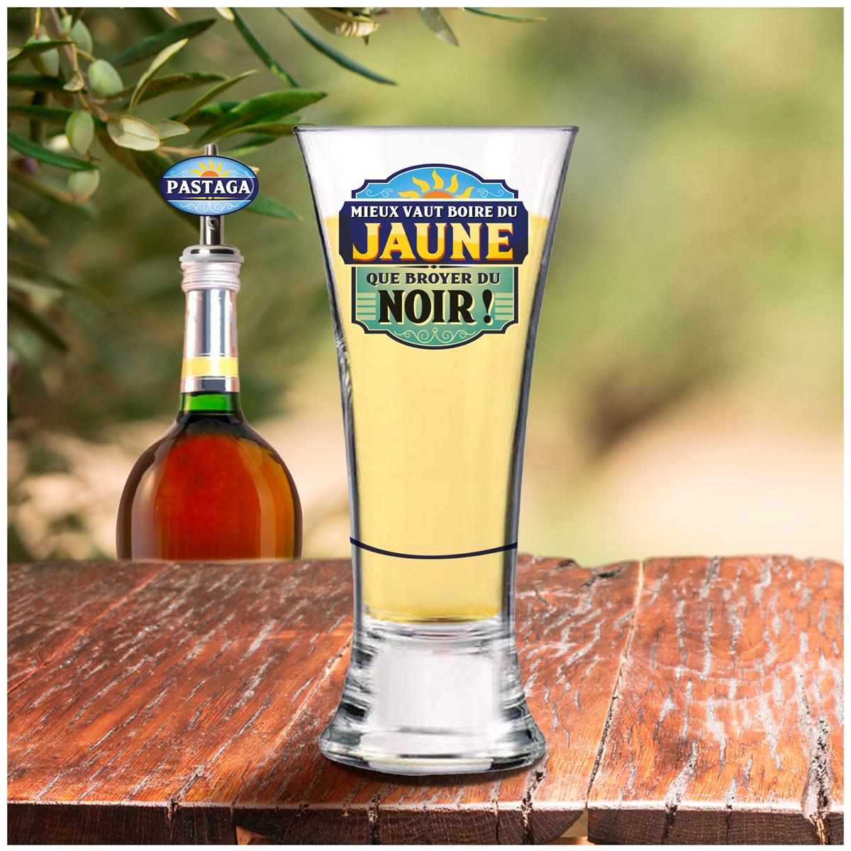 Coffret verre à bière et bec verseur \'Pastaga\' - verre 16 cm (Mieux vaut boire du Jaune que broyer du Noir !) - [A1523]