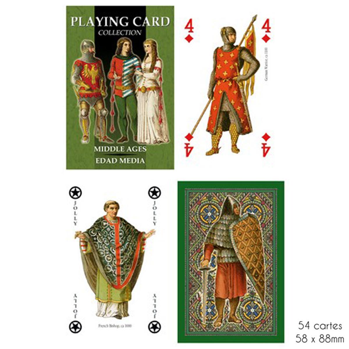 Jeu de cartes Créateur \'Moyen Age\' vert - 9x6x2 cm - [A2854]