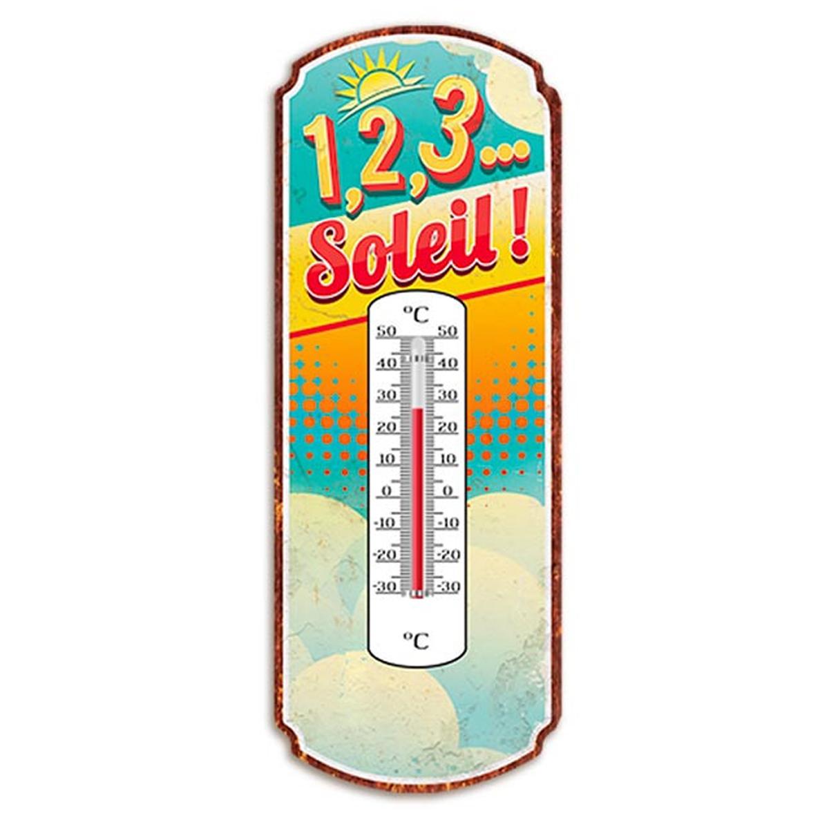 Thermomètre métal humoristique \'1,2,3 Soleil !\' multicolore - 25x10 cm - [A2928]