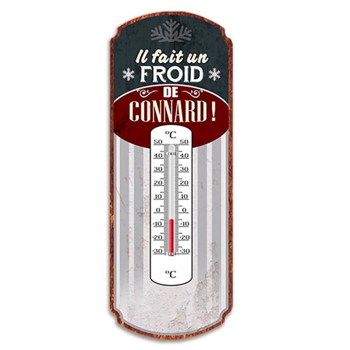 Thermomètre métal humoristique \'Il fait un froid de Connard !\' gris bordeaux - 25x10 cm - [A2929]