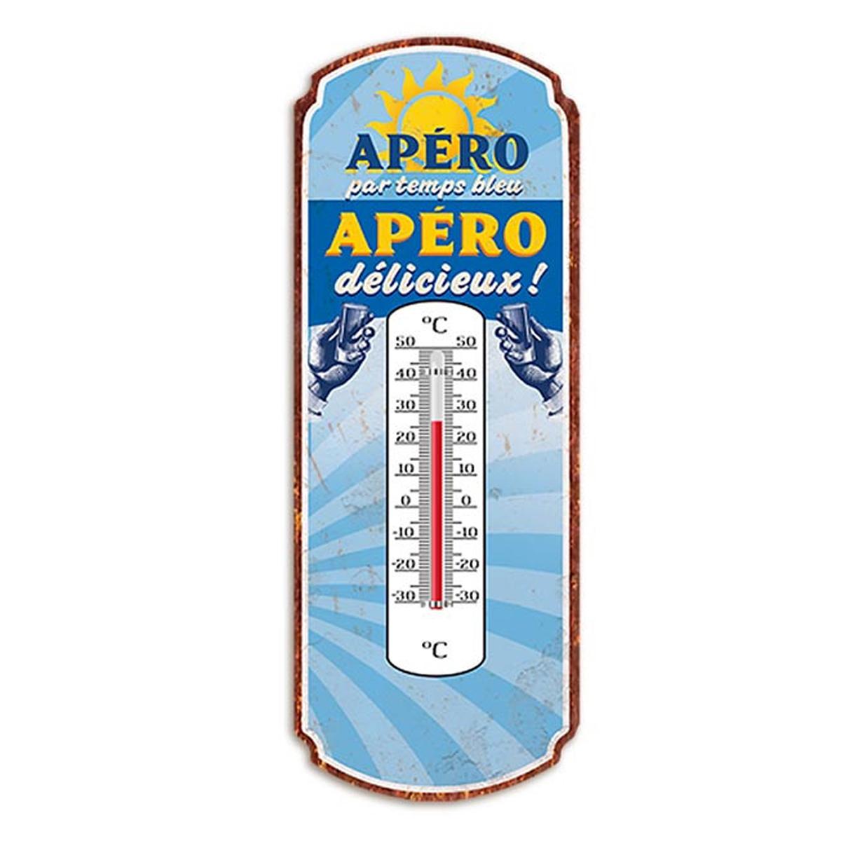 Thermomètre métal humoristique \'Apéro par temps bleu, Apéro délicieux !\' bleu - 25x10 cm - [A2930]