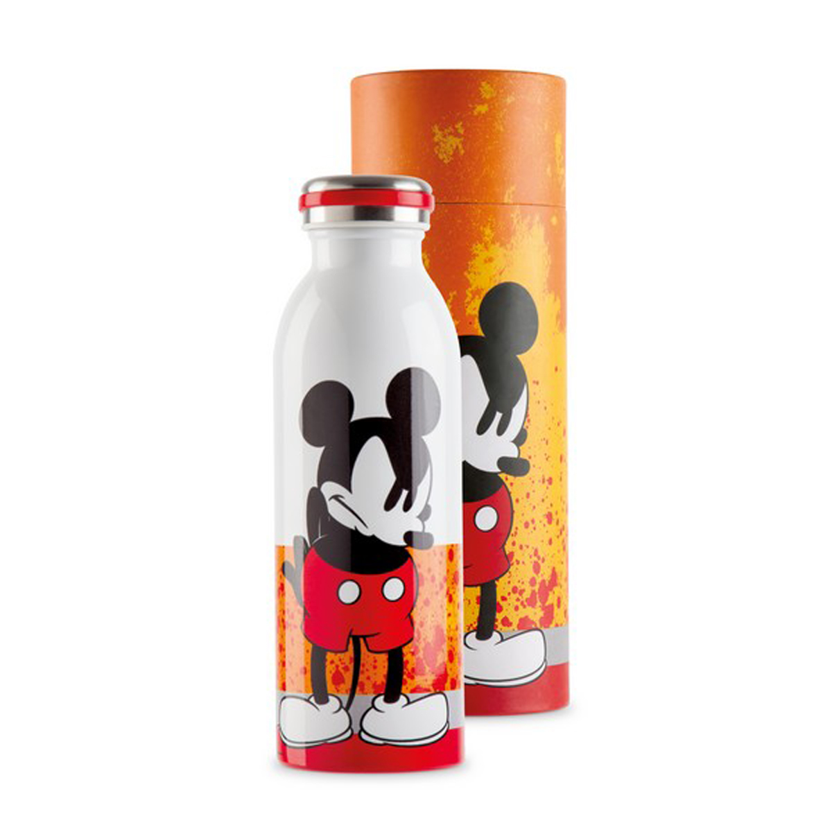 Bouteille isotherme \'Mickey\' orange - 21x7 cm (500 ml) - [A2947]