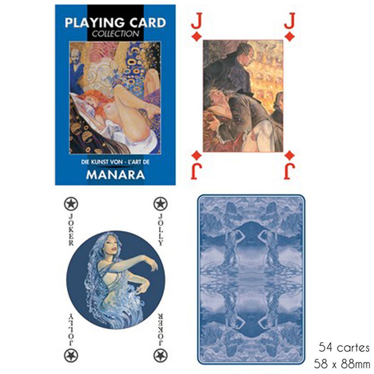 Jeu de cartes Créateur \'Art de Milo Manara\' bleu - 9x6x2 cm - [A2968]