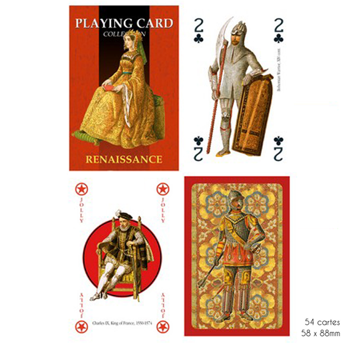 Jeu de cartes Créateur \'Renaissance\' rouge - 9x6x2 cm - [A2970]