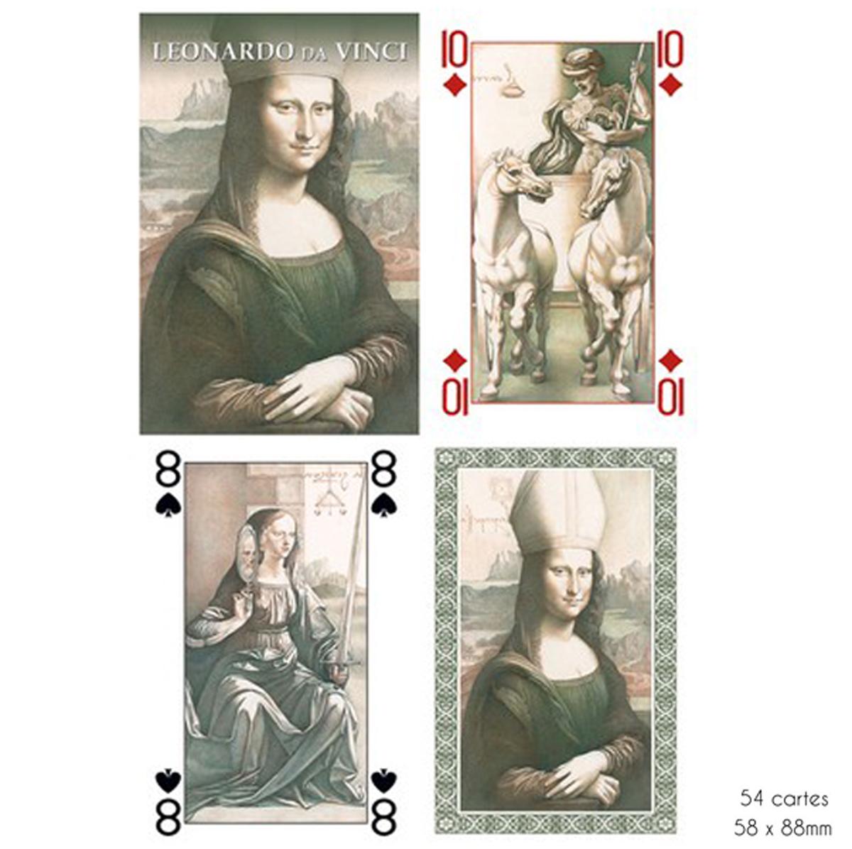 Jeu de cartes Créateur \'Léonard de Vinci\' gris - 9x6x2 cm - [A2973]