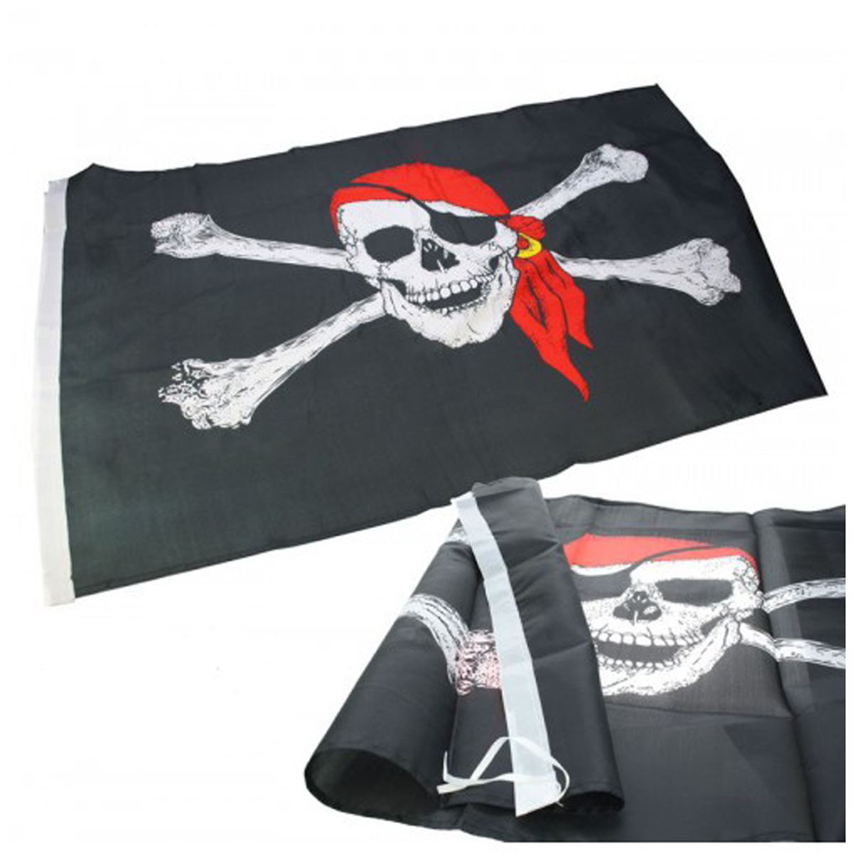 Drapeau \'Pirate\' noir rouge - 90x150 cm - [J1620]