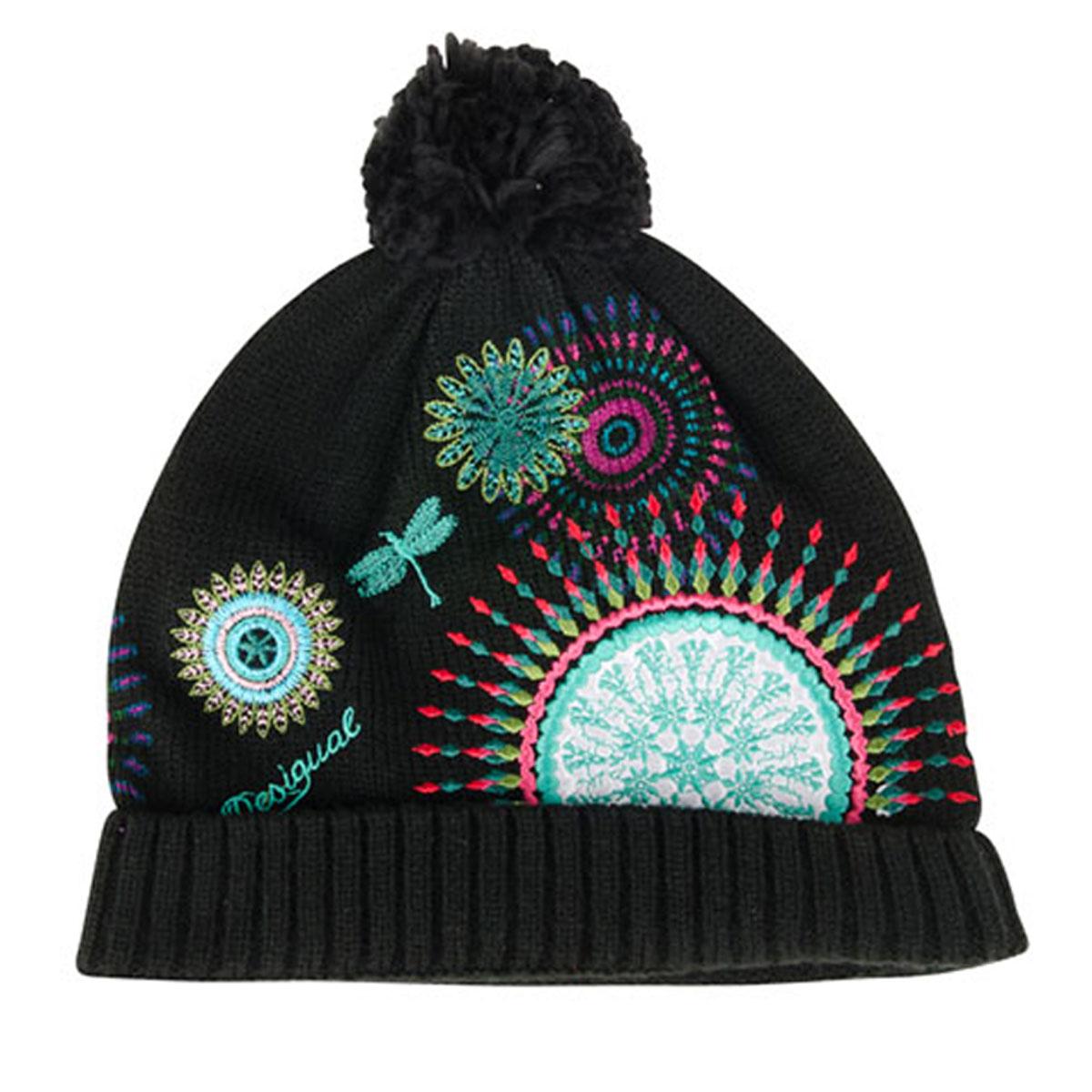 Bonnet créateur \'Desigual\' noir multicolore - taille unique - [L5976]