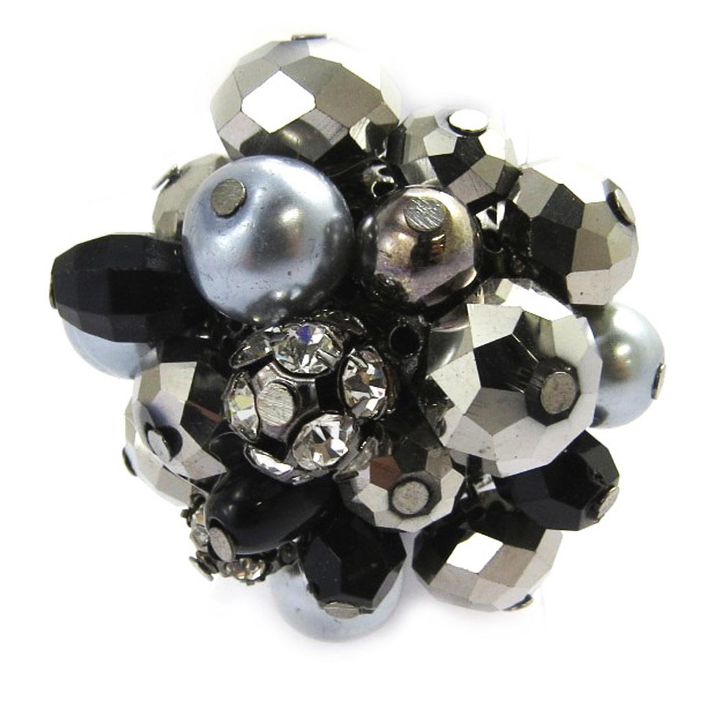 Bague cristal \'Sissi\' gris anthracite - 4 cm - [M2573]