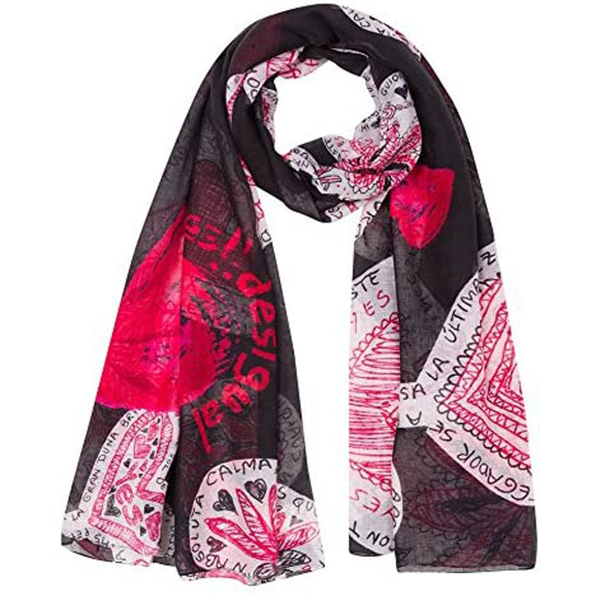 Poncho créateur \'Desigual\' rouge noir (love) - 240x120 cm - [M7484]