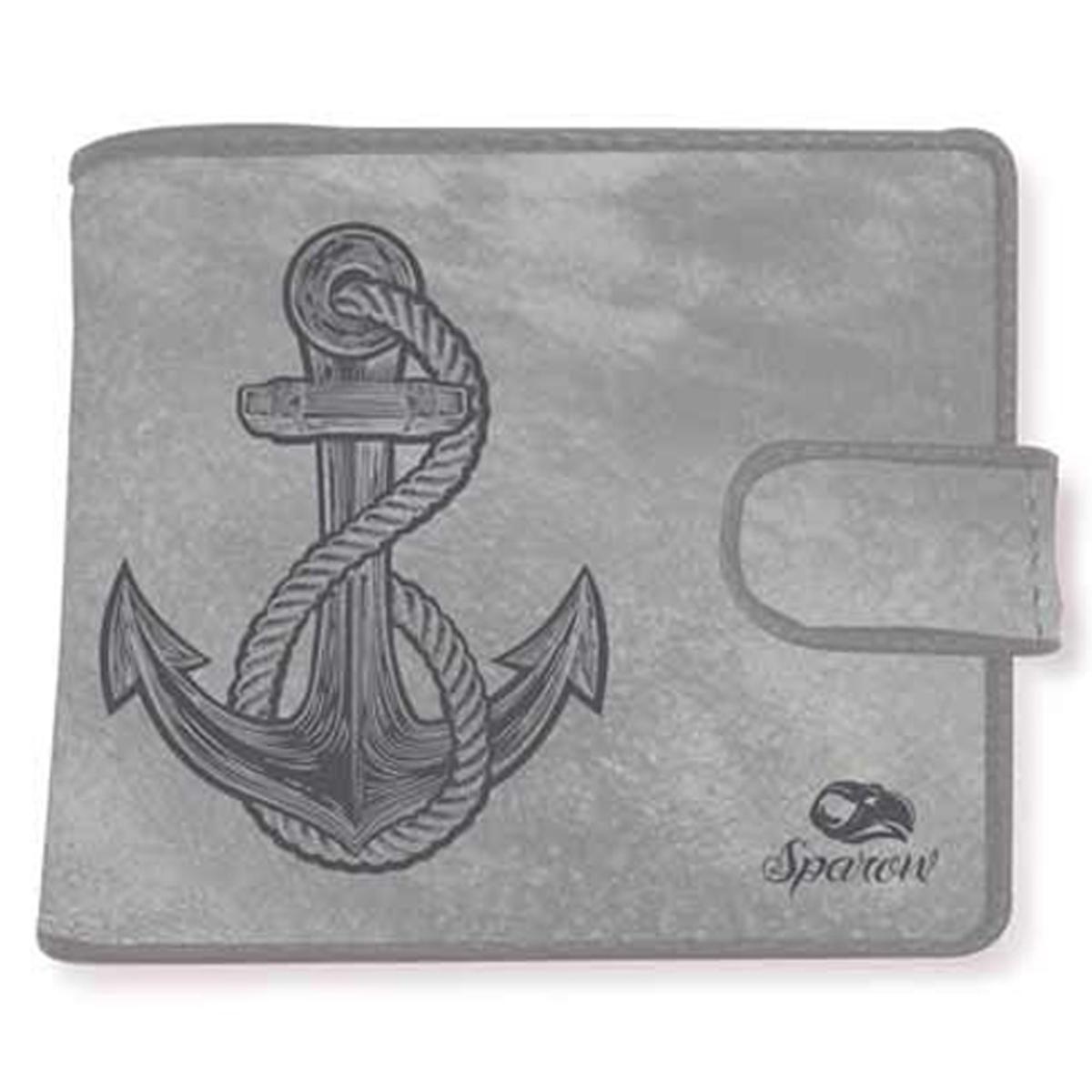 Portefeuille italien \'Sparow\' gris (ancre marine) - 11x10x2 cm - [Q3194]