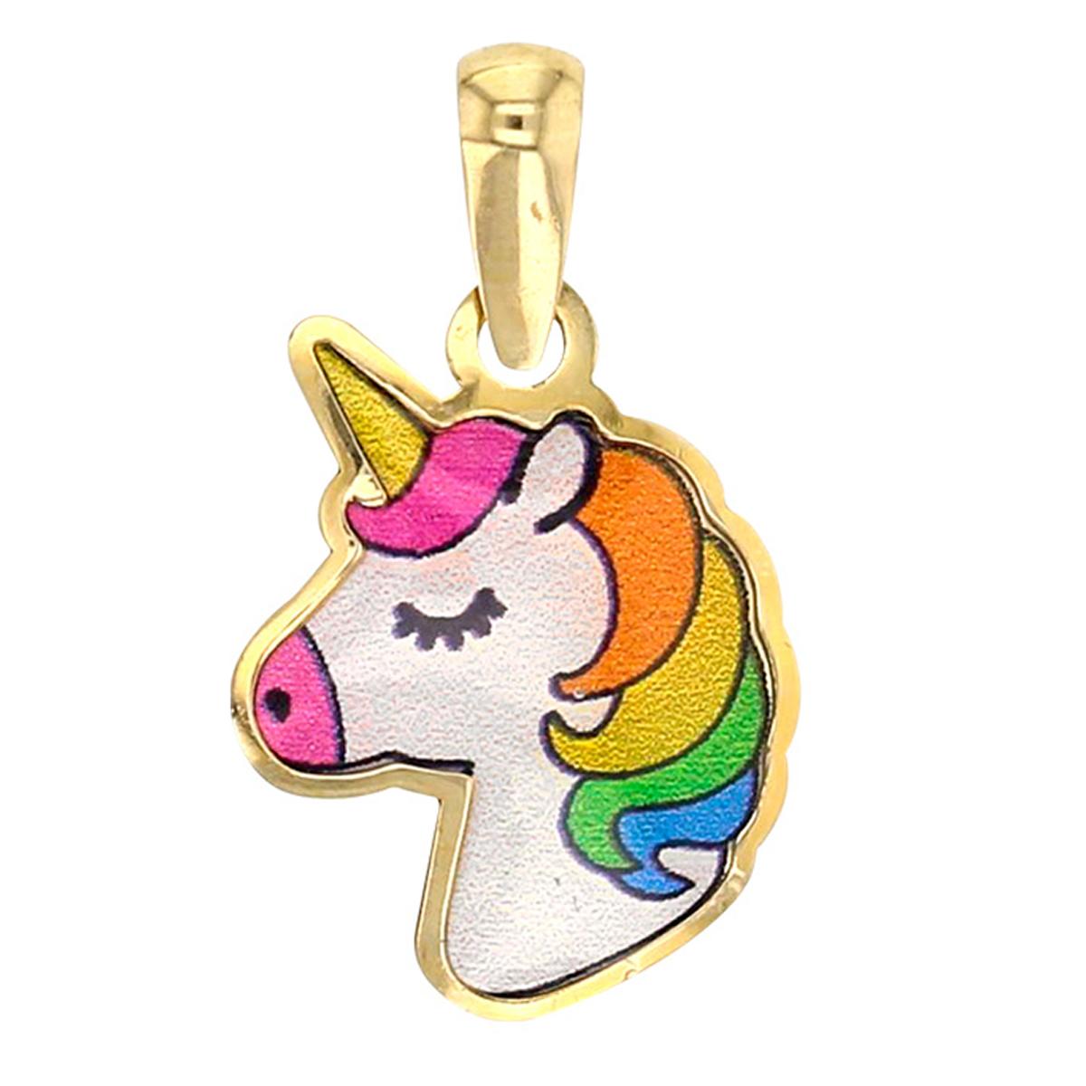 Pendentif \'Licorne My Unicorn\' multicolore doré (Or - 9 carats)  - [Q3344]