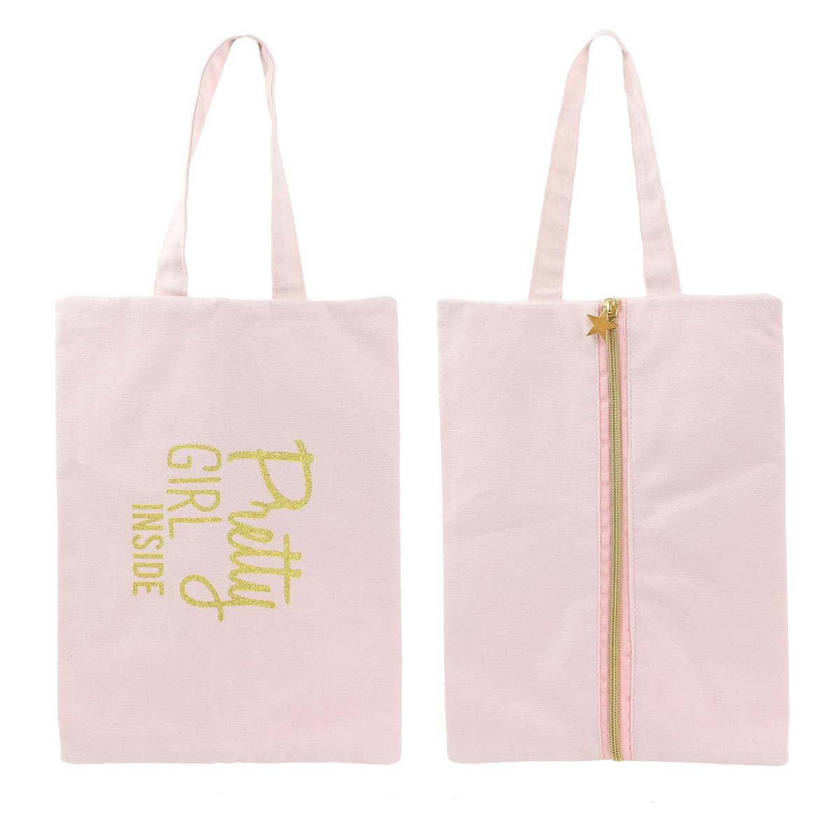 Pochette plate / sac à chaussures coton \'Messages\' rose (Pretty girl inside) - 30x21 cm - [Q3925]
