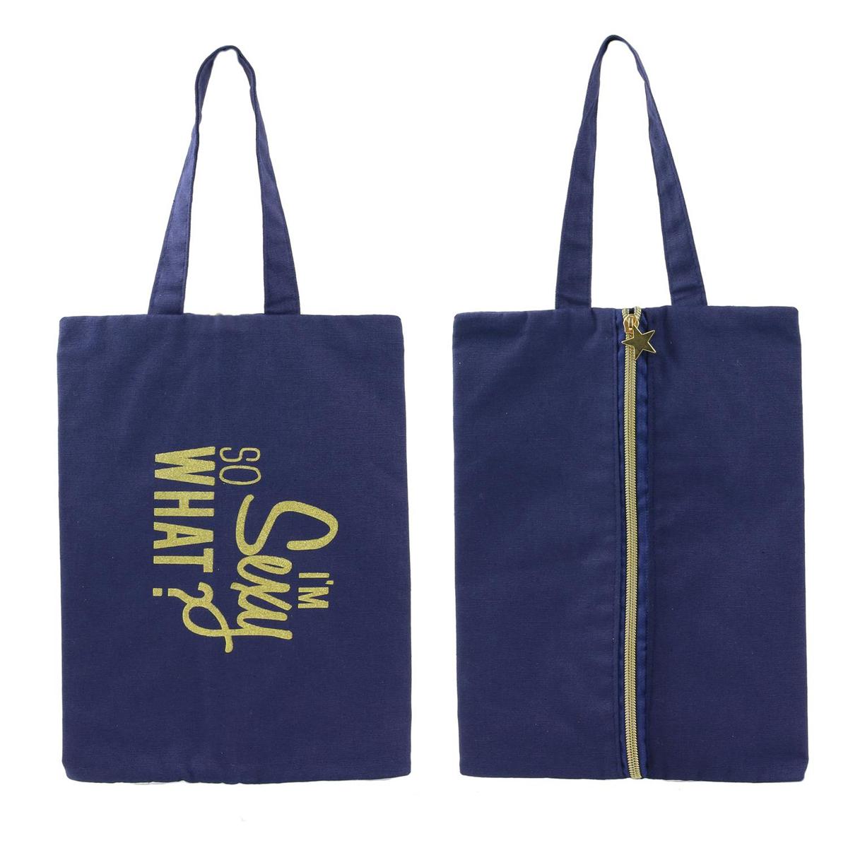 Pochette plate / sac à chaussures coton \'Messages\' bleu (I\'m sexy so what ?) - 30x21 cm - [Q3926]