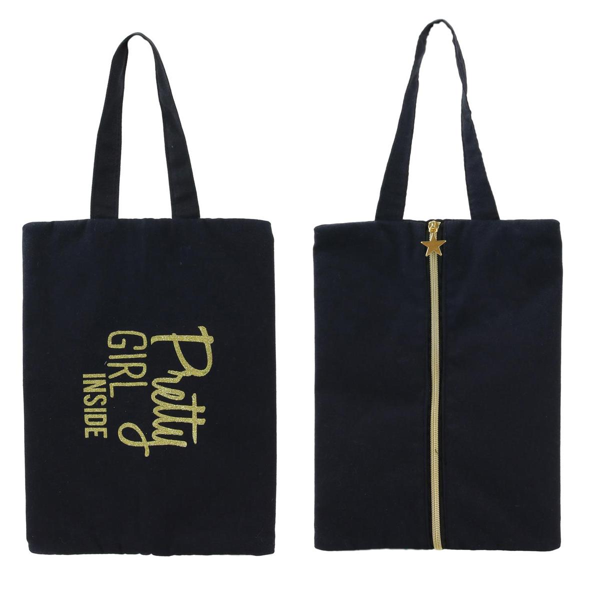 Pochette plate / sac à chaussures coton \'Messages\' noir (Pretty girl inside) - 30x21 cm - [Q3927]
