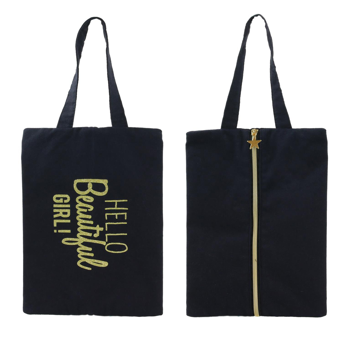 Pochette plate / sac à chaussures coton \'Messages\' noir (Hello Beautiful Girl !) - 30x21 cm - [Q3928]