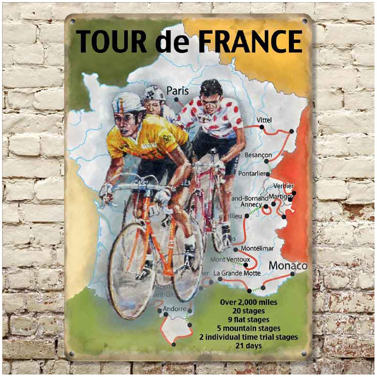 Plaque métal rétro \'Tour de France\' multicolore vintage - 20x15 cm - [R0615]
