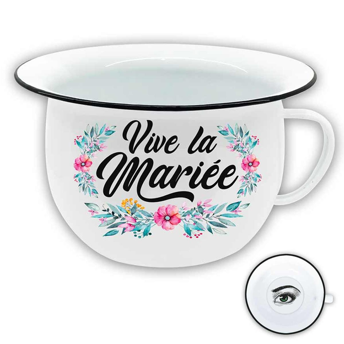 Pot de chambre \'Vive la Mariée\' blanc multicolore - 22x125 cm - [R1435]