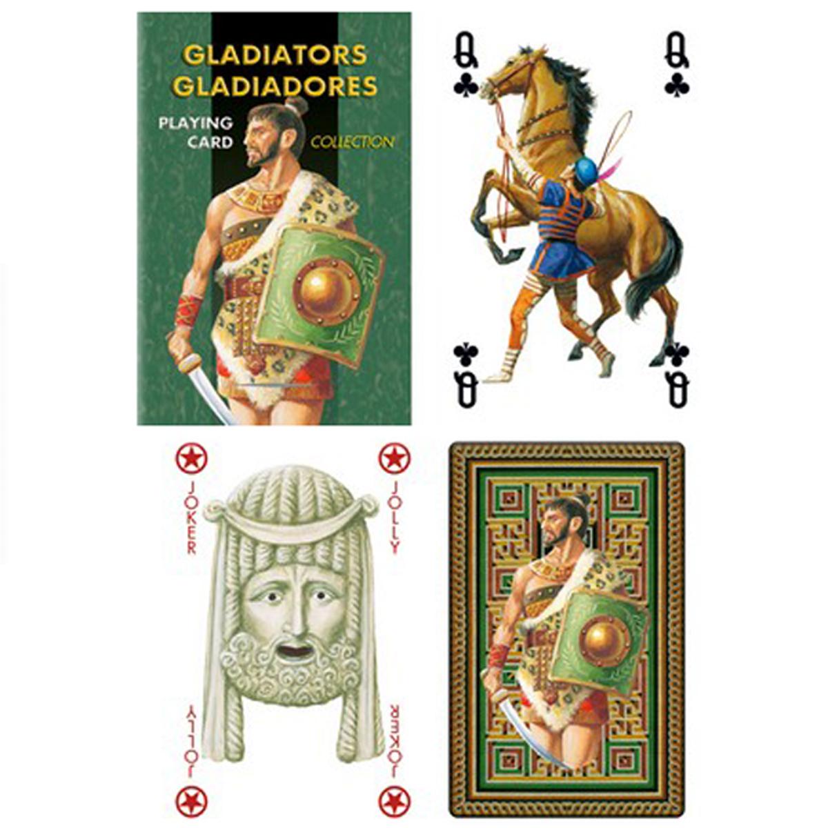 Jeu de cartes Créateur \'Gladiateurs\' vert - 9x6x2 cm - [R1795]