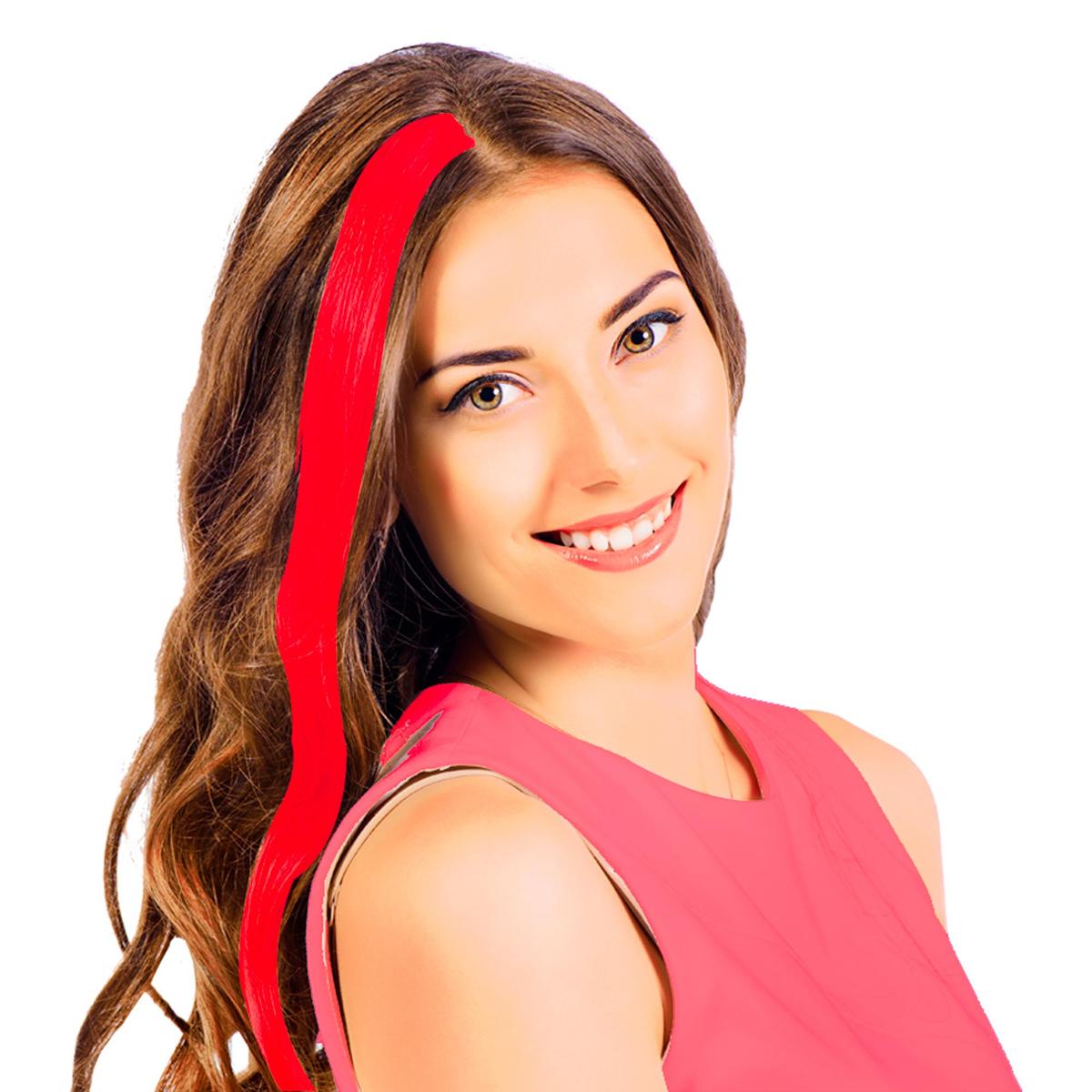 Mèche \'Coloriage\' rouge (faux cheveux) - 40 cm - [R2618]